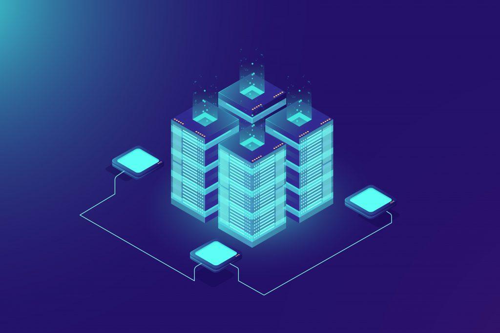 Fundo azul com um servidor montado em azul claro, mostrando a conexão de uma API.