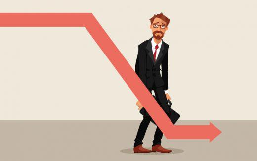 Homem estampando desânimo com queda de valores